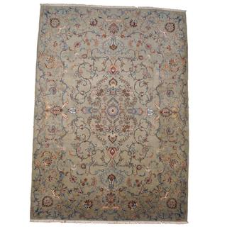 Herat Oriental Semi-antique 1950's Persian Hand-knotted Kashan Light Green/ Light Blue Wool Rug (10' x 13')
