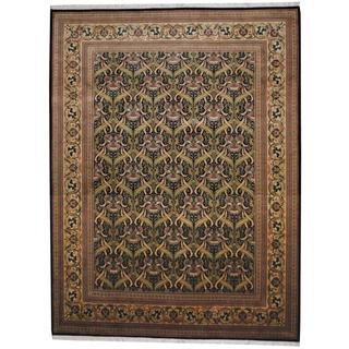 Herat Oriental Indo Hand-knotted William Morris Black/ Beige Wool Rug (9'1 x 12'2)