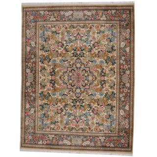 Herat Oriental Indo Hand-knotted William Morris Green/ Ivory Wool Rug (9'1 x 12'2)