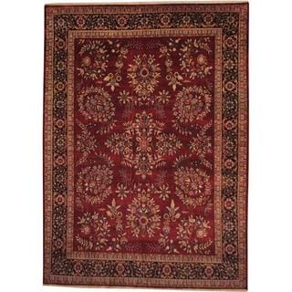 Herat Oriental Indo Hand-knotted Sarouk Maroon/ Black Wool Rug (8'10 x 12'2)