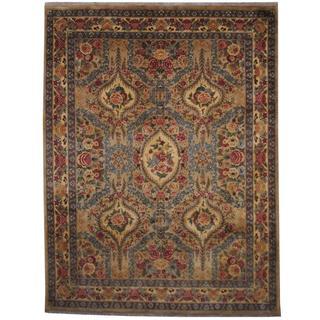 Herat Oriental Indo Hand-knotted Tabriz Light Green/ Beige Wool Rug (9' x 12')
