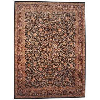 Herat Oriental Indo Hand-knotted Tabriz Black/ Red Wool Rug (9' x 12'1)