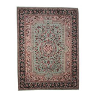 Herat Oriental Indo Hand-knotted Tabriz Turquoise/ Green Wool and Silk Rug (8'9 x 11'8)