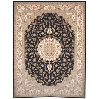 Herat Oriental Indo Hand-knotted Tabriz Black/ Ivory Wool and Silk Rug (9' x 12'2)