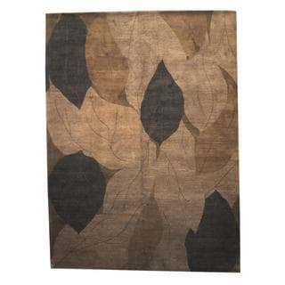 Herat Oriental Indo Hand-knotted Tibetan Brown/ Chocolate Brown Wool Rug (8'10 x 12')