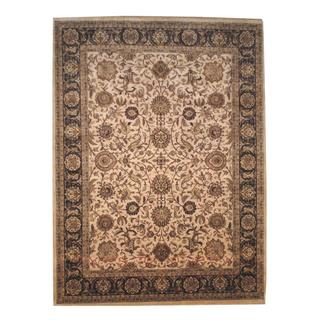 Herat Oriental Indo Hand-knotted Mahal Beige/ Brown Wool Rug (9' x 12'3)