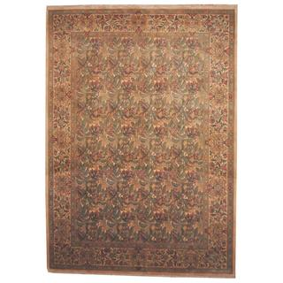 Herat Oriental Indo Hand-knotted Aubusson Olive Green/ Beige Wool Rug (9' x 12'8)