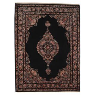 Herat Oriental Persian Hand-knotted Kerman Black/ Ivory Wool and Silk Rug (9'1 x 12'4)