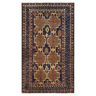 Herat Oriental Semi-antique Afghan Hand-knotted Tribal Balouchi Navy/ Tan Wool Rug (3'6 x 6'1)