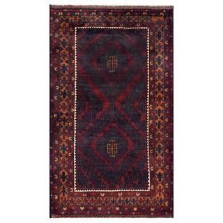 Herat Oriental Semi-antique Afghan Hand-knotted Tribal Balouchi Maroon/ Dark Green Wool Rug (3'7 x 6'2)