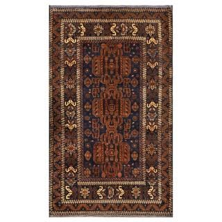 Herat Oriental Semi-antique Afghan Hand-knotted Tribal Balouchi Navy/ Brown Wool Rug (3'9 x 6'4)