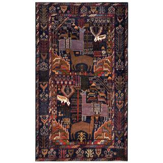 Herat Oriental Semi-antique Afghan Hand-knotted Tribal Balouchi Navy/ Brown Wool Rug (3'11 x 6'9)