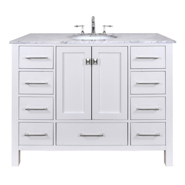 pure white single sink 48 inch bathroom vanity with carrara marble top