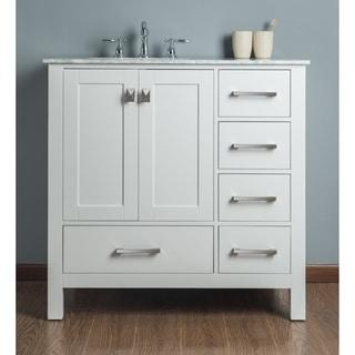 Malibu Pure White Single Sink 360-inch Bathroom Vanity