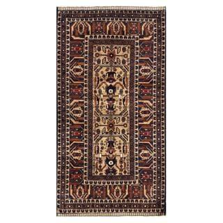 Herat Oriental Semi-antique Afghan Hand-knotted Tribal Balouchi Tan/ Navy Wool Rug (3'6 x 6'9)