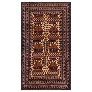 Herat Oriental Semi-antique Afghan Hand-knotted Tribal Balouchi Beige/ Navy Wool Rug (3'10 x 6'7)
