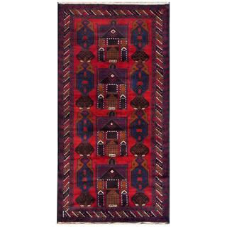 Herat Oriental Semi-antique Afghan Hand-knotted Tribal Balouchi Red/ Navy Wool Rug (3'4 x 6'7)