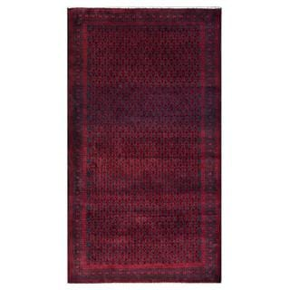 Herat Oriental Semi-antique Afghan Hand-knotted Tribal Balouchi Red/ Navy Wool Rug (3'7 x 6'6)