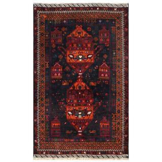 Herat Oriental Semi-antique Afghan Hand-knotted Tribal Balouchi Navy/ Coral Wool Rug (3'9 x 6')