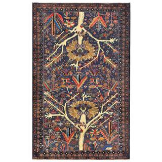 Herat Oriental Semi-antique Afghan Hand-knotted Tribal Balouchi Navy/ Ivory Wool Rug (3'11 x 6'3)