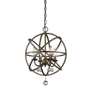 Avery Home Lighting Acadia 4-light Golden Bronze/ Clear Crystal Pendant