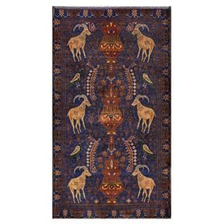 Herat Oriental Semi-antique Afghan Hand-knotted Tribal Balouchi Navy/ Brown Wool Rug (3'9 x 6'6)