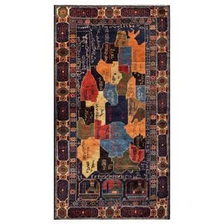 Herat Oriental Semi-antique Afghan Hand-knotted Tribal Balouchi Navy/ Apricot Wool Rug (3'6 x 6'8)
