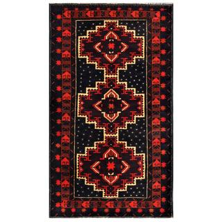 Herat Oriental Semi-antique Afghan Hand-knotted Tribal Balouchi Purple/ Navy Wool Rug (3'8 x 6'4)