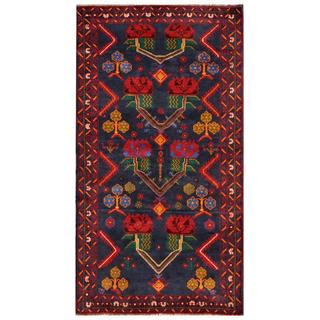 Herat Oriental Semi-antique Afghan Hand-knotted Tribal Balouchi Navy/ Red Wool Rug (3'7 x 6'8)