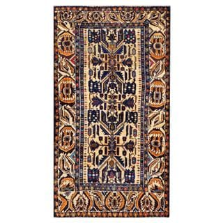 Herat Oriental Semi-antique Afghan Hand-knotted Tribal Balouchi Ivory/ Navy Wool Rug (3'7 x 6'7)