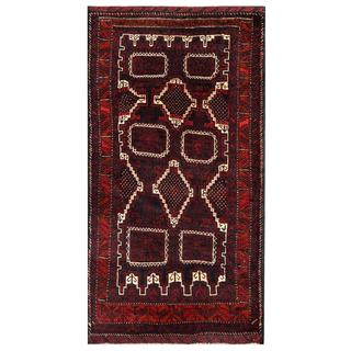 Herat Oriental Semi-antique Afghan Hand-knotted Tribal Balouchi Ivory/ Navy Wool Rug (3'7 x 7')