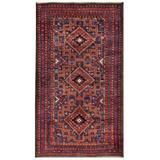 Herat Oriental Semi-antique Afghan Hand-knotted Tribal Balouchi Brown/ Navy Wool Rug (3'9 x 6'6)