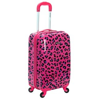Rockland Magenta Leopard 20-inch Lightweight Hardside Spinner Carry-on Luggage
