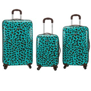 Rockland Designer Blue Leopard 3-piece Lightweight Hardside Spinner Luggage Set