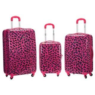 Rockland Designer Magenta Leopard 3-piece Lightweight Hardside Spinner Luggage Set