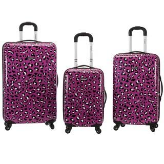 Rockland Designer Purple Leopard 3-piece Lightweight Hardside Spinner Luggage Set