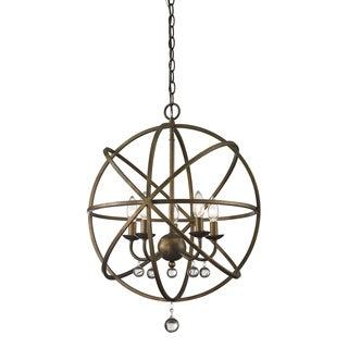 Z-Lite Acadia 5-light Golden Bronze/ Clear Crystal Pendant