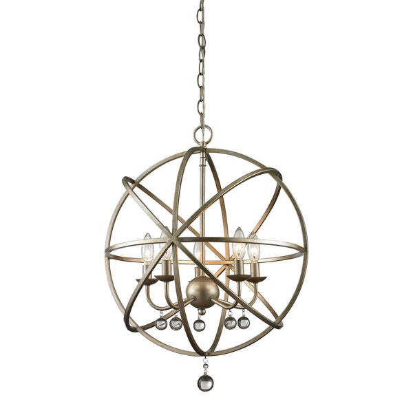 Z Lite Acadia 5 Light Antique Silver Clear Crystal Pendant 16408995 Shopping