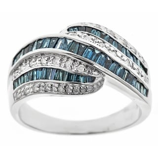 D'Yach Sterling Silver 1 1/6ct TDW Blue Diamonds Ring (I1-I2)