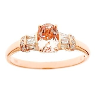 D'Yach 10k Rose Gold Morganite and 1/3ct TDW Diamond Ring (G-H, I1-I2)