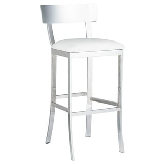 Sunpan Maiden White Faux Leather Bar Stool