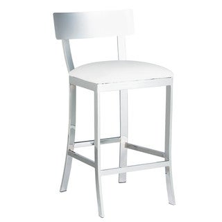 Sunpan Maiden White Faux Leather Counter Stool