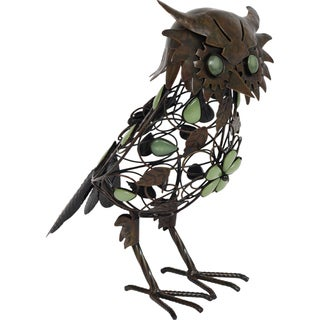 Glow in the Dark Beaded Owl Garden Statue