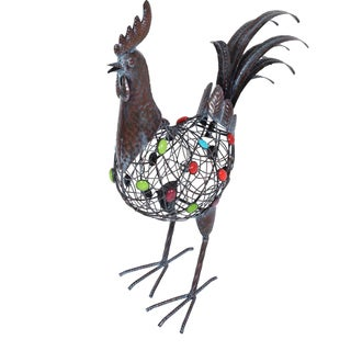 Beaded Crowing Rooster Garden Statue