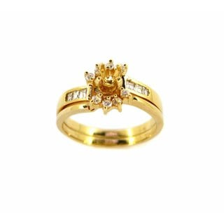 Kabella Luxe 18k Yellow Gold Diamond Semi Mount Ring Set (H-I, VS1-VS2)