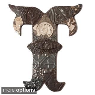 Ozark Folk Art Reclaimed Tin Letter T
