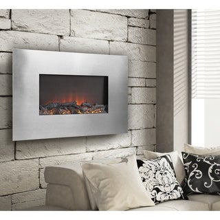 Silver Metal 35-inch Wall Mount Electric Firebox