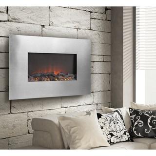Silver Metal 35-inch Wall Mount Electric Firebox