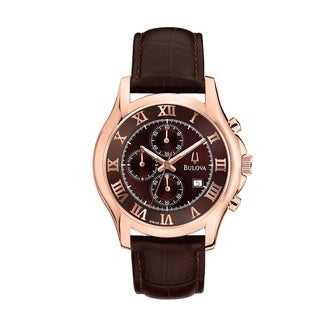 Bulova Men's 97B120 Rose Goldtone Brown Leather Chronograph Watch