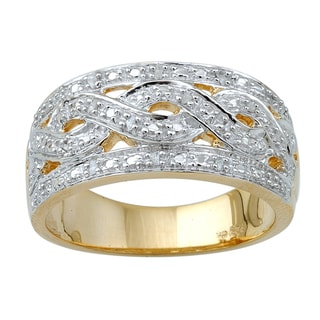 Yellow-plated Sterling Silver 1/10ct TDW Diamond Fashion Ring (H-I, I3)